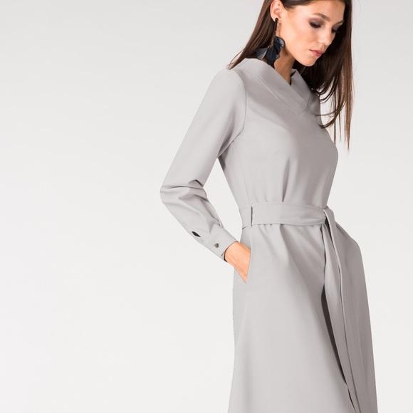 7dca249f0 Closet Dresses & Skirts - Closet London Grey Shawl Collar Long Sleeve Dress